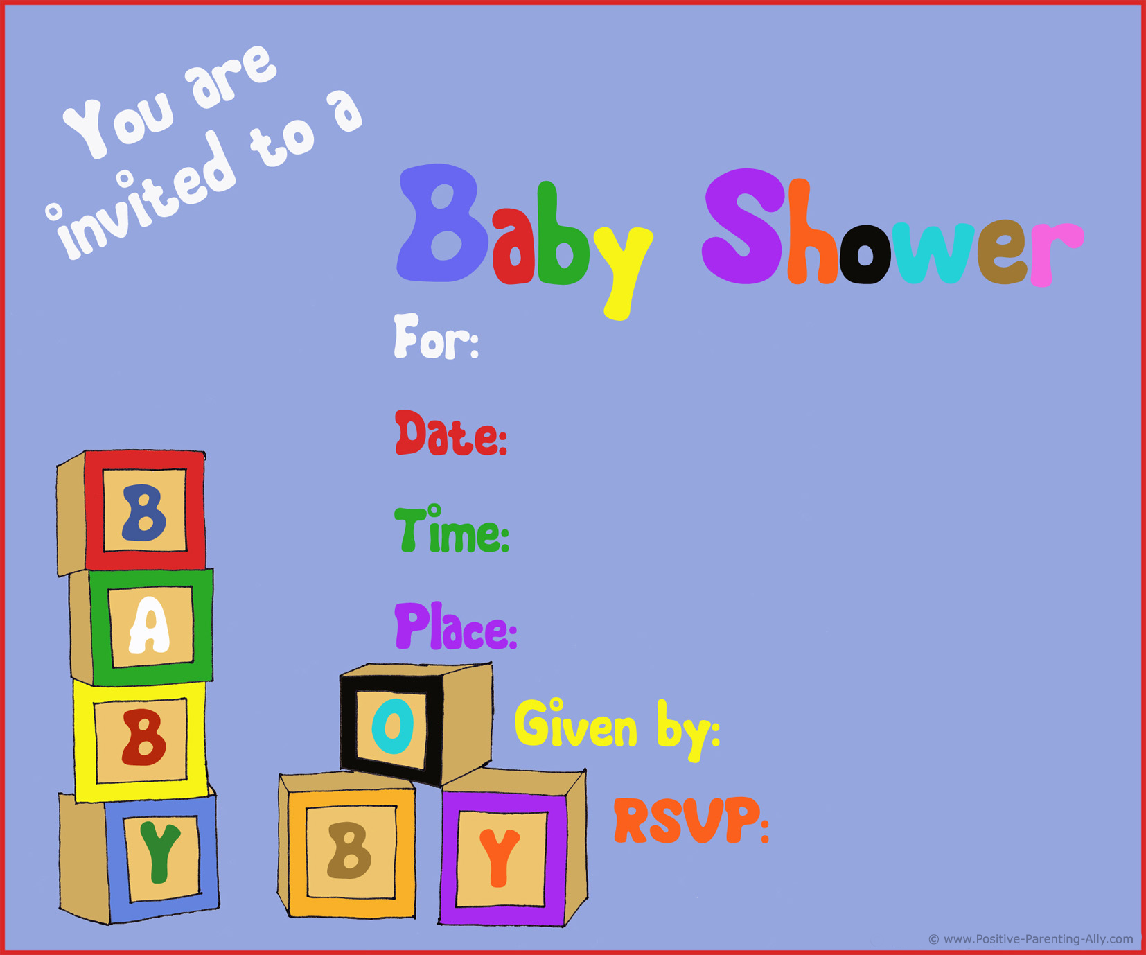 Printable baby shower invitations with toy blocks for boys.