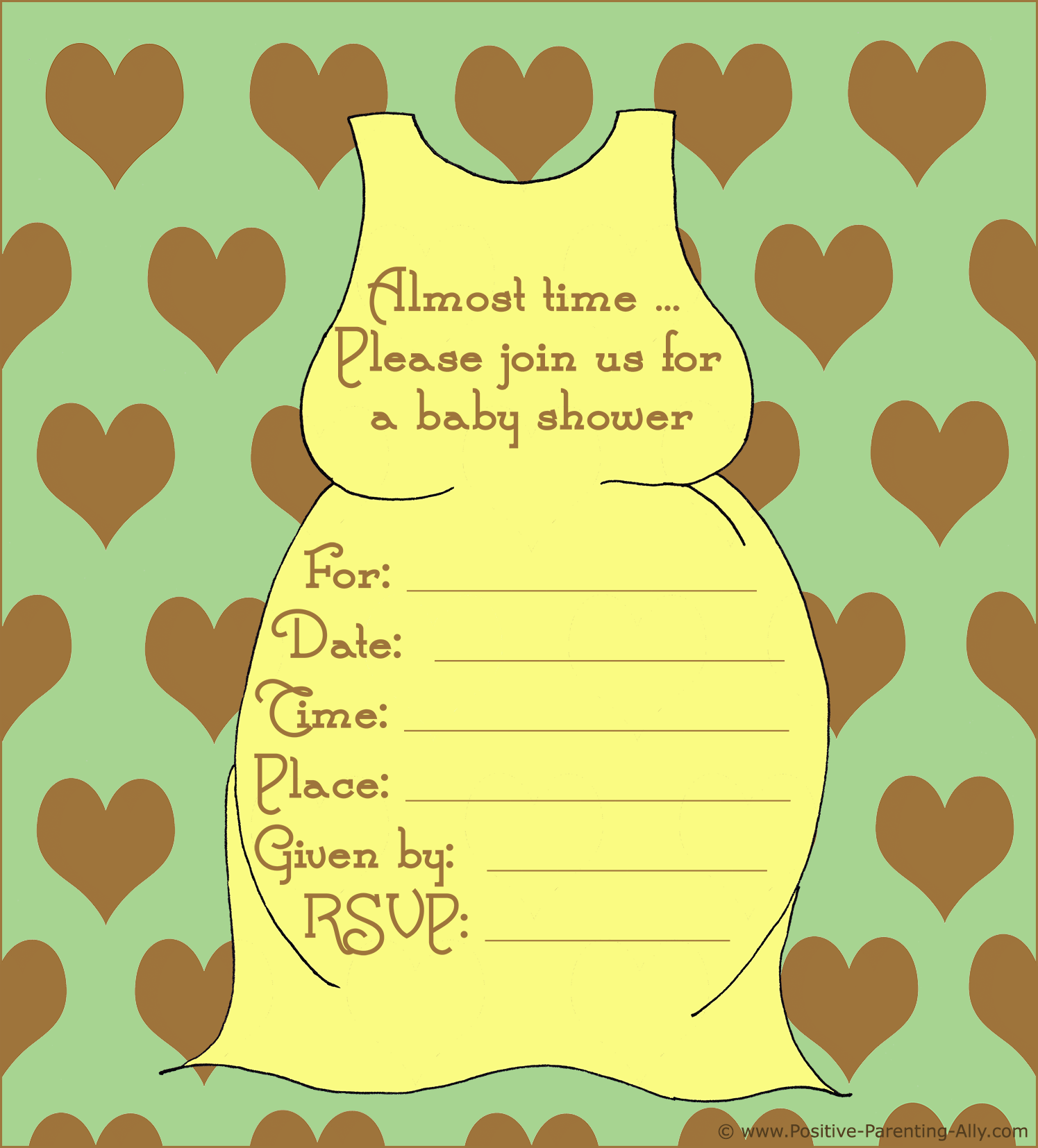 Neutral baby shower invite with pregnant belly dress in retro style.