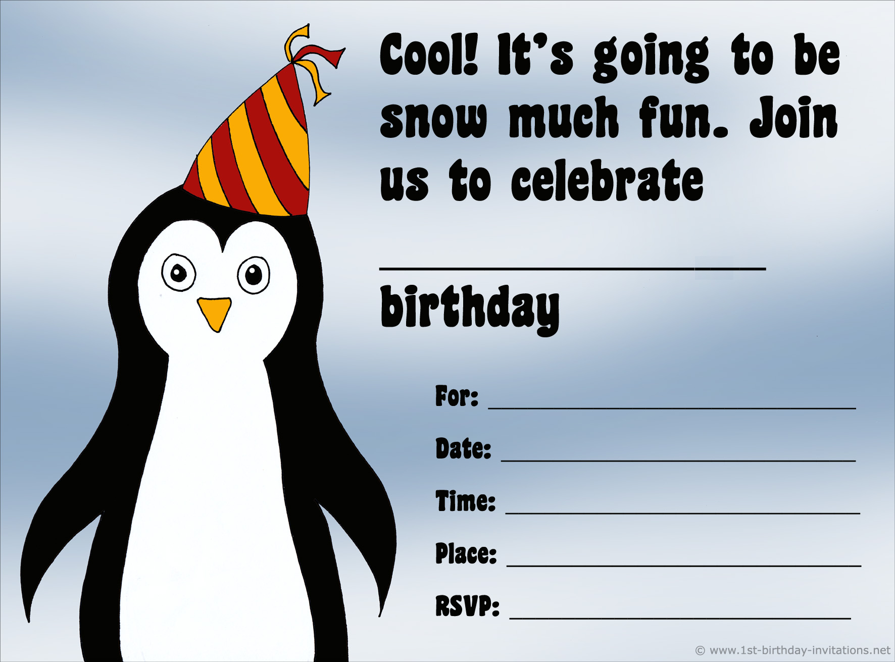 Cute Penguin birthday invitation free and printable.