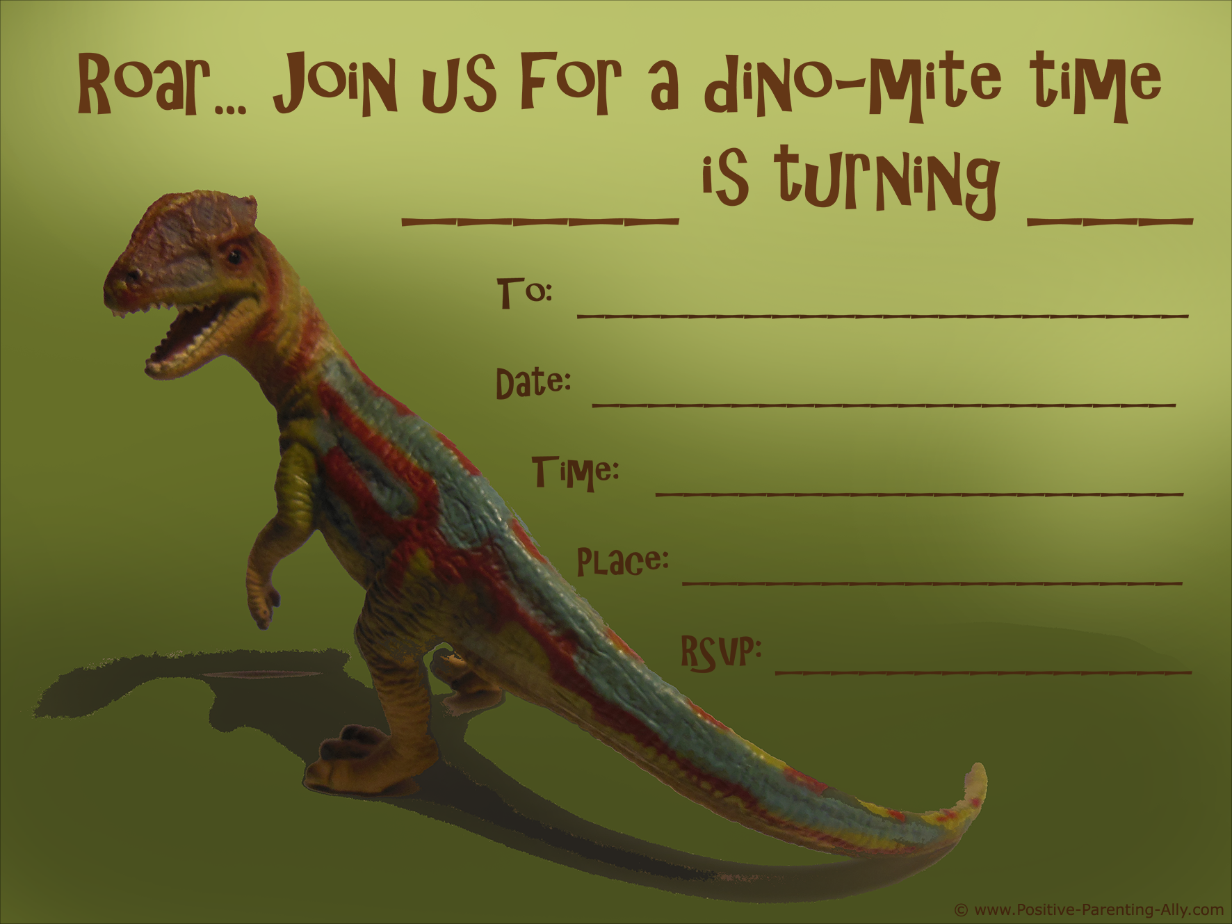 picture regarding Printable Dinosaur Birthday Invitations named Free of charge Printable Birthday Social gathering Invites for Children: Higher