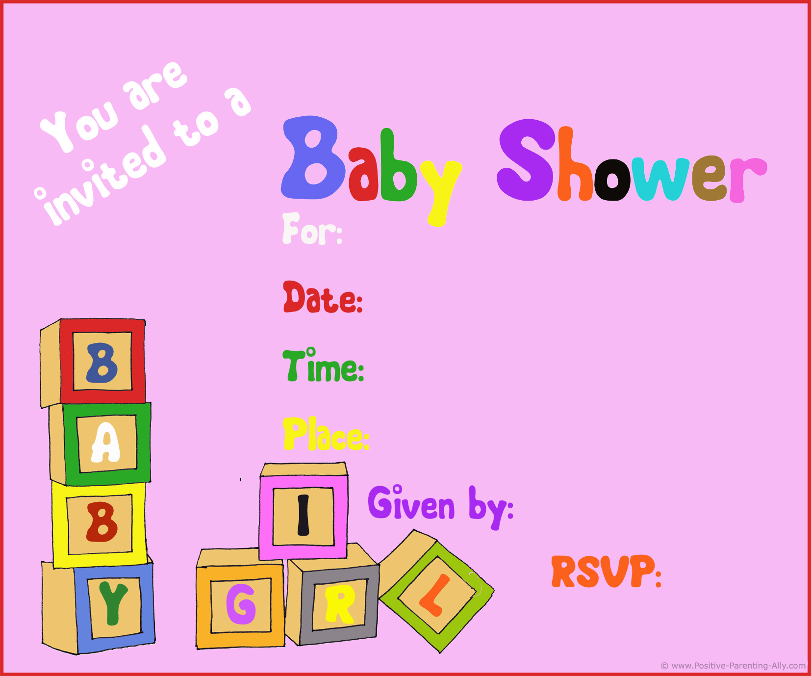 Free girl baby shower invitations with toy blocks
