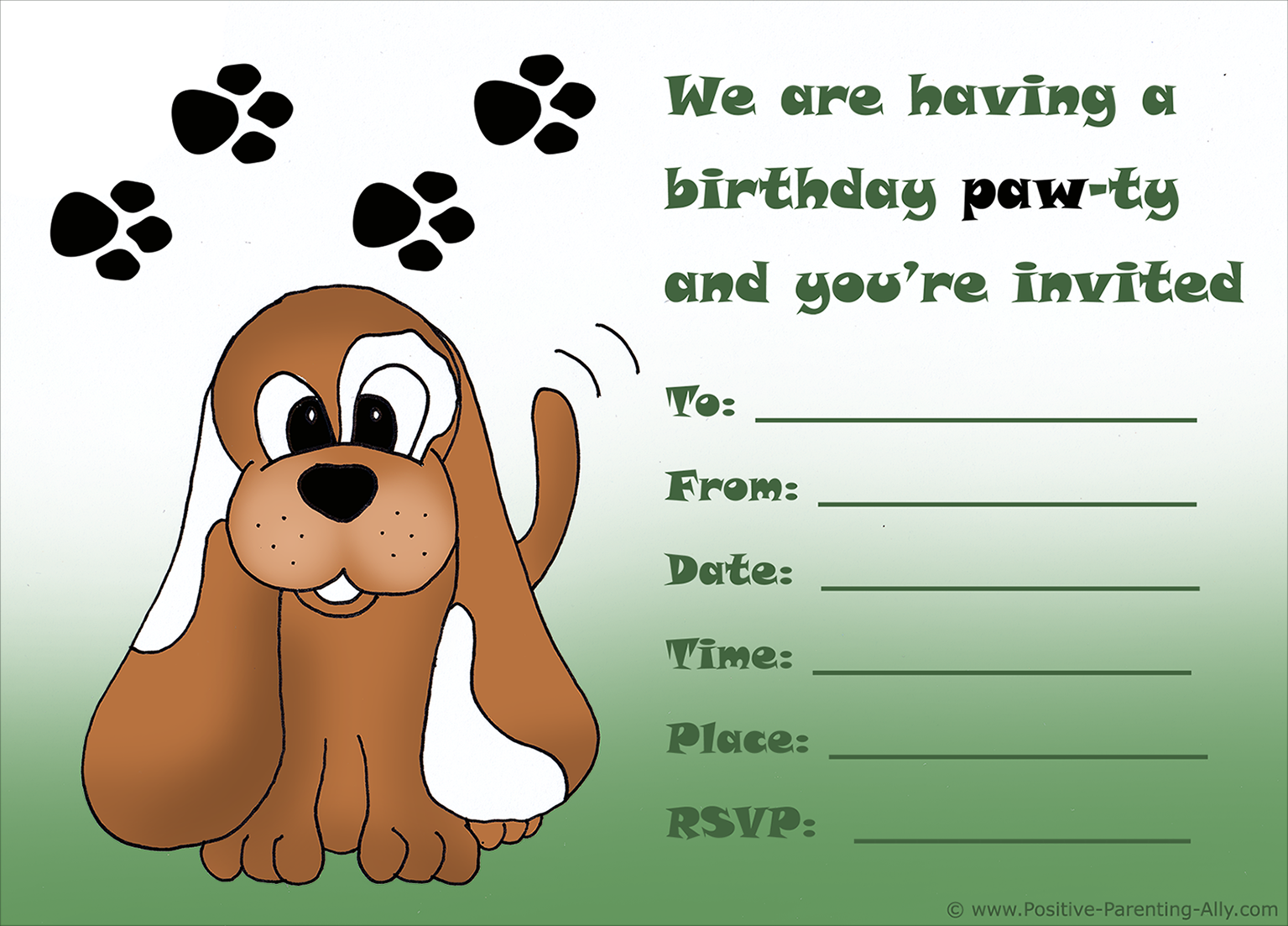 Cute Printable Puppy Birthday Invitation For Kids