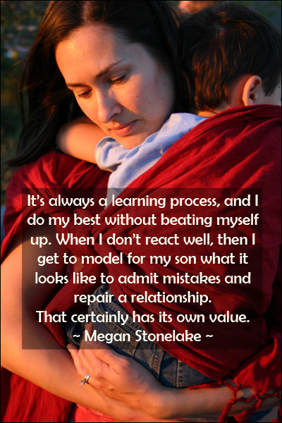 Parenting quote on teaching to admit mistakes and repairing a relationship by Megan Stonelake.