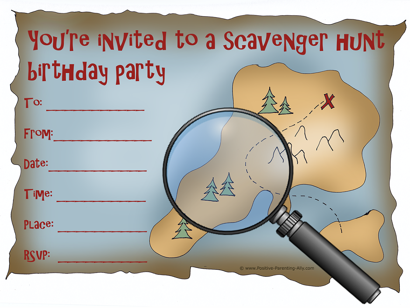 Scavenger hunt pritable birthday invitation with treasure map to print.