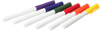 6 different color markers for fun experiments for kids.
