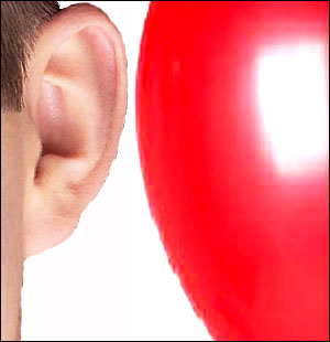 Fun kids science projects with balloons: Hold a balloon to your ear and tap on the other side.