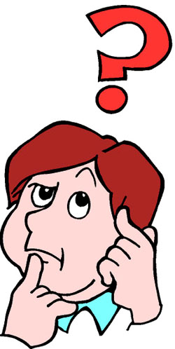 Fun thinking and knowledge games for kids online. Drawing of thinking boy with question mark hovering above his head.