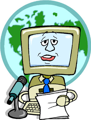 Funny drawing of a computer news speaker.
