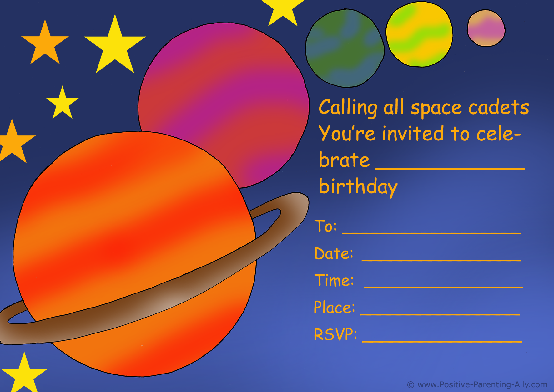 Space and planets birthday party invitation to print.