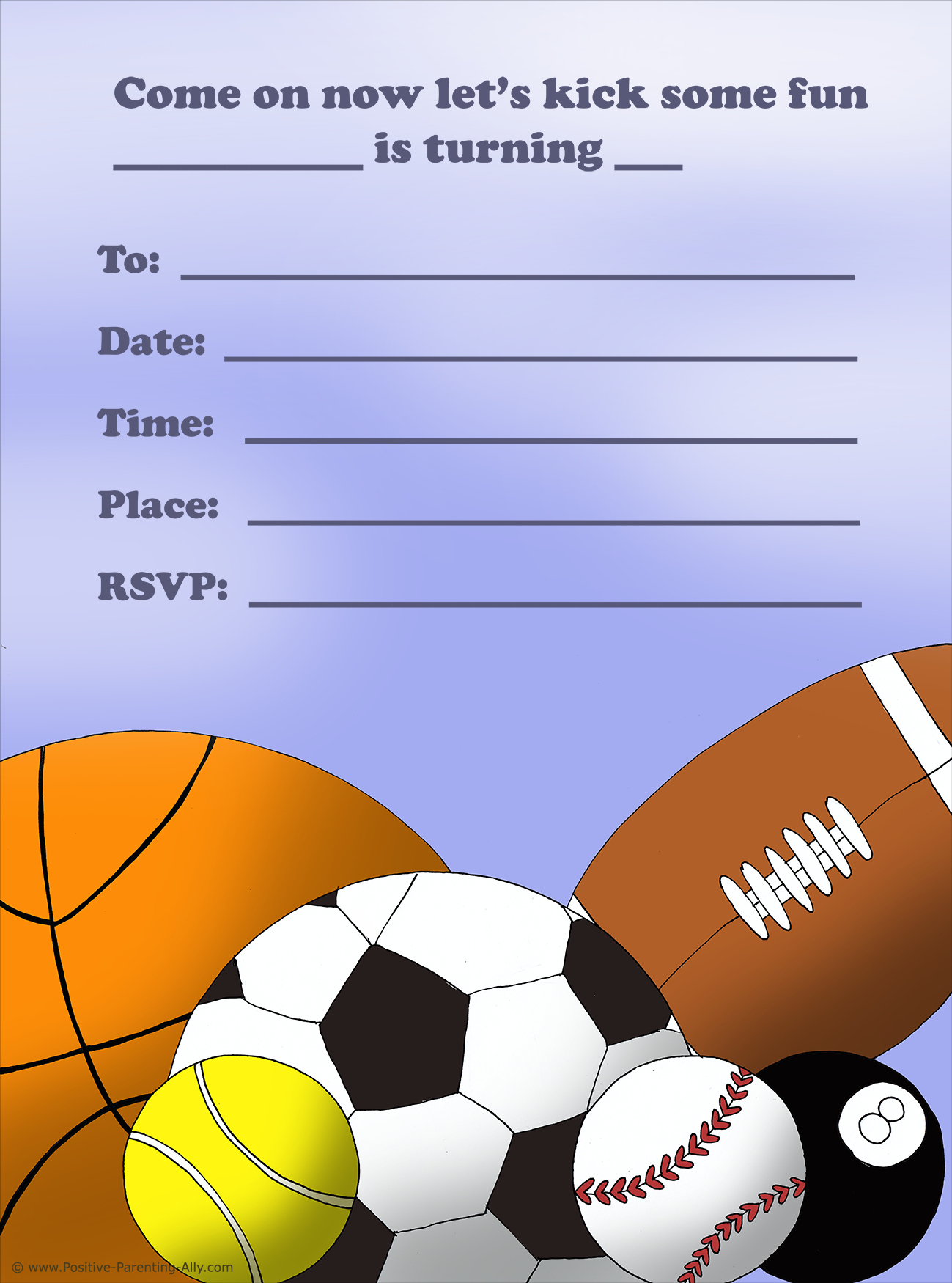 Sports Balls Free Printable Birthday Invitations Football Basket Ball Tennis Snooker