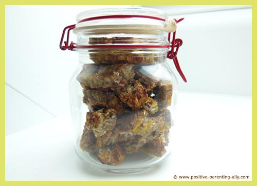 Storing kids snacks in a simple jar.