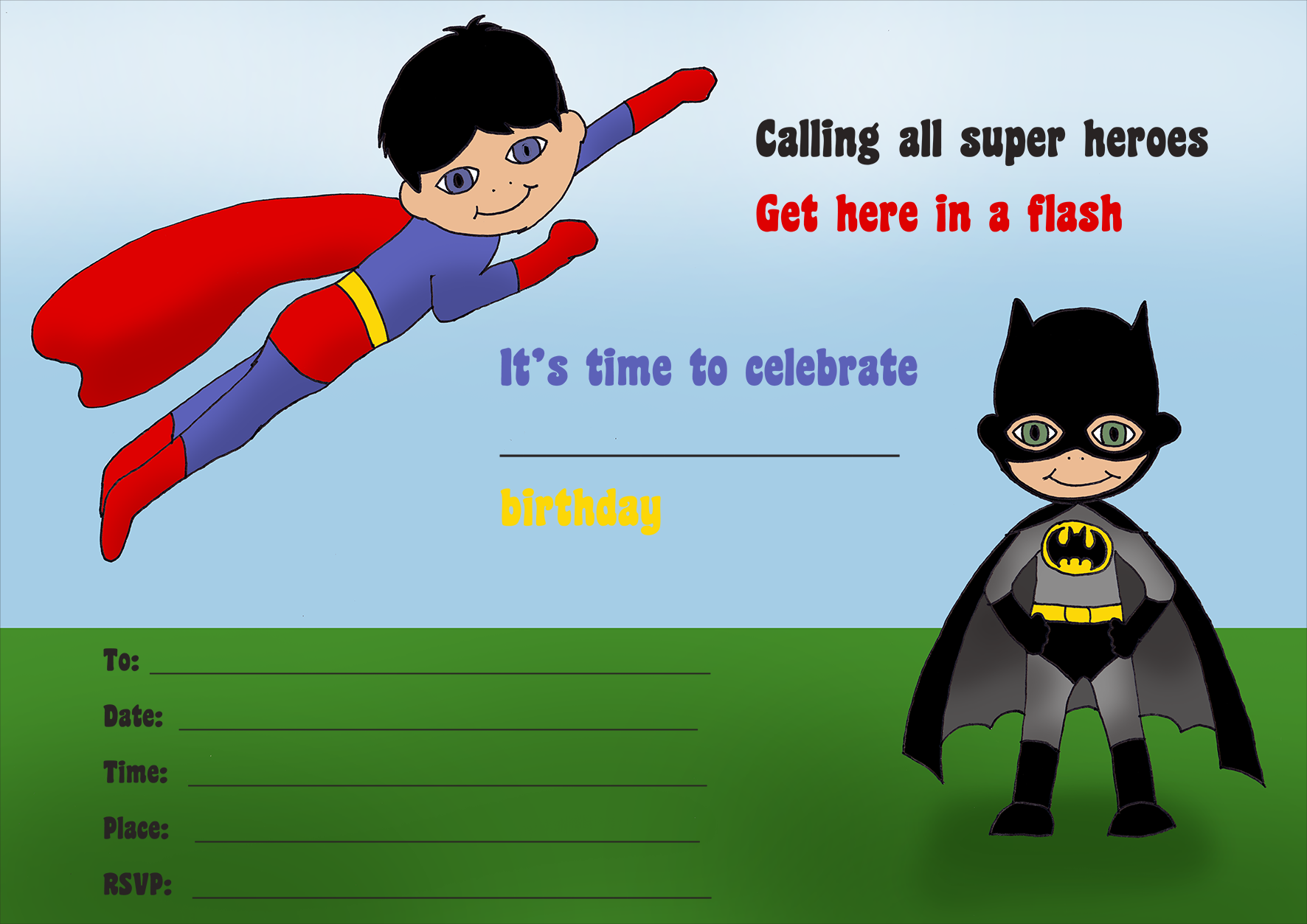 Super hero birthday party invitation for kids to print: superman and batman theme.