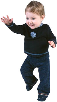 Fun activities for toddlers: Young toddler just learning to walk.