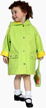 Cognitive toddler games: Little girl wearing a green raincoat.