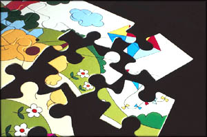A variety of the traditional jigsaw puzzle game.