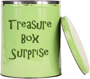 Great toddler game: Lovely lime green box for the treasure game.