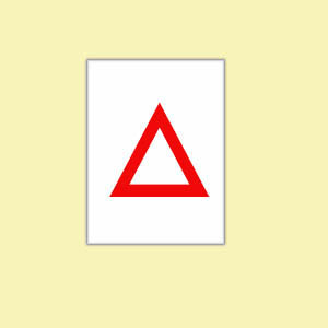 Fun things for toddlers to do: Paper with red triangle for family game.