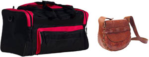 Fun toddler learning game: Two bags, a sports bag and a handbag or purse.