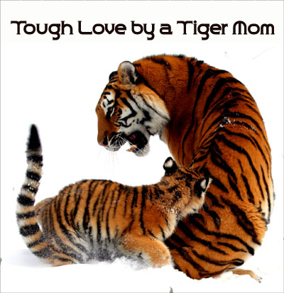 Tiger mom picuture representing Chua's tough love parenting.