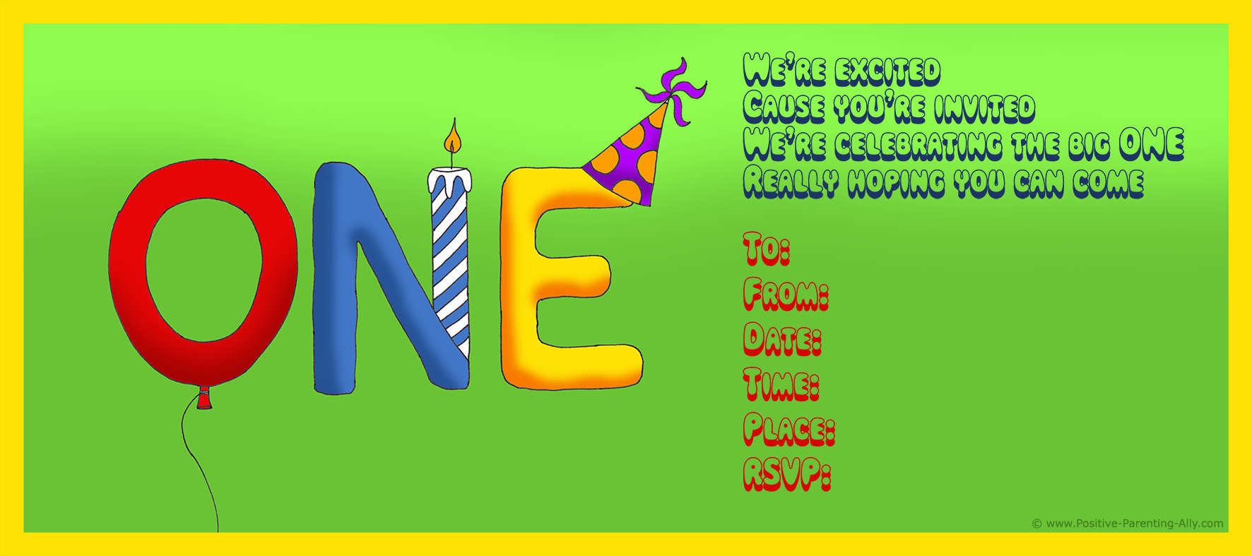 Birthday Invitation For The Big ONE All Free And Printable
