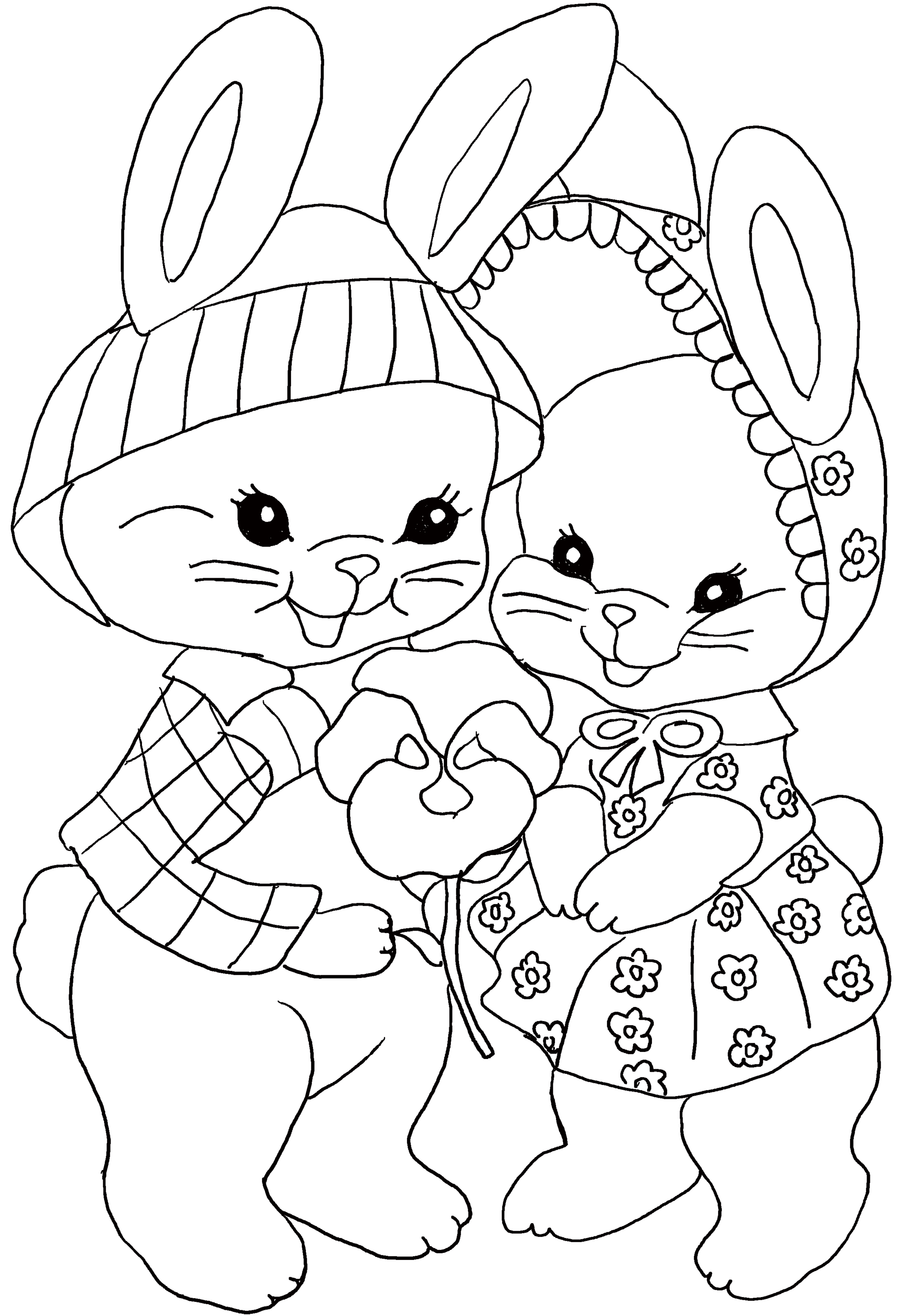 Easter coloring page for kids. Two cute bunnies with a flower