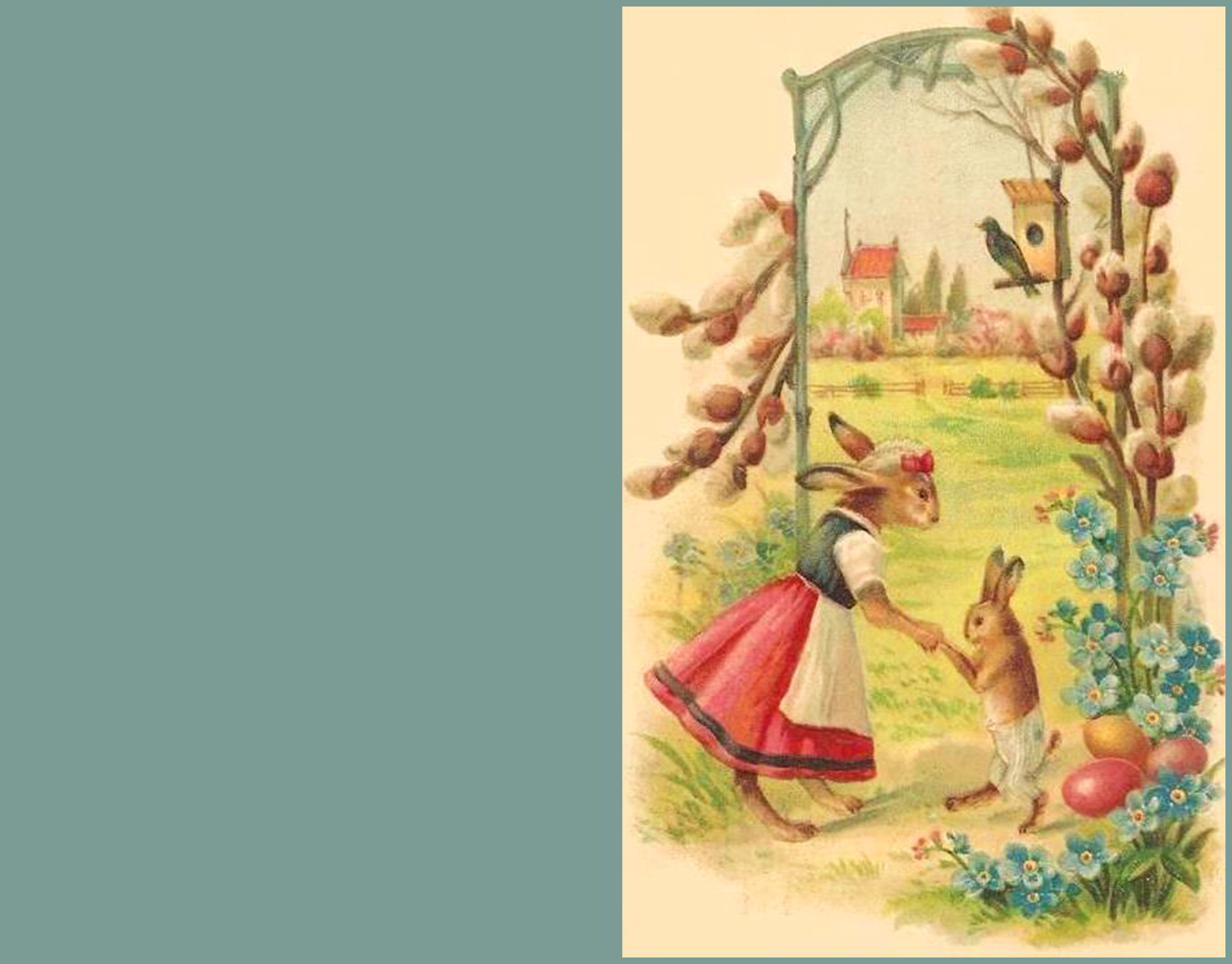 Two cute bunnies on old Easter greeting card.