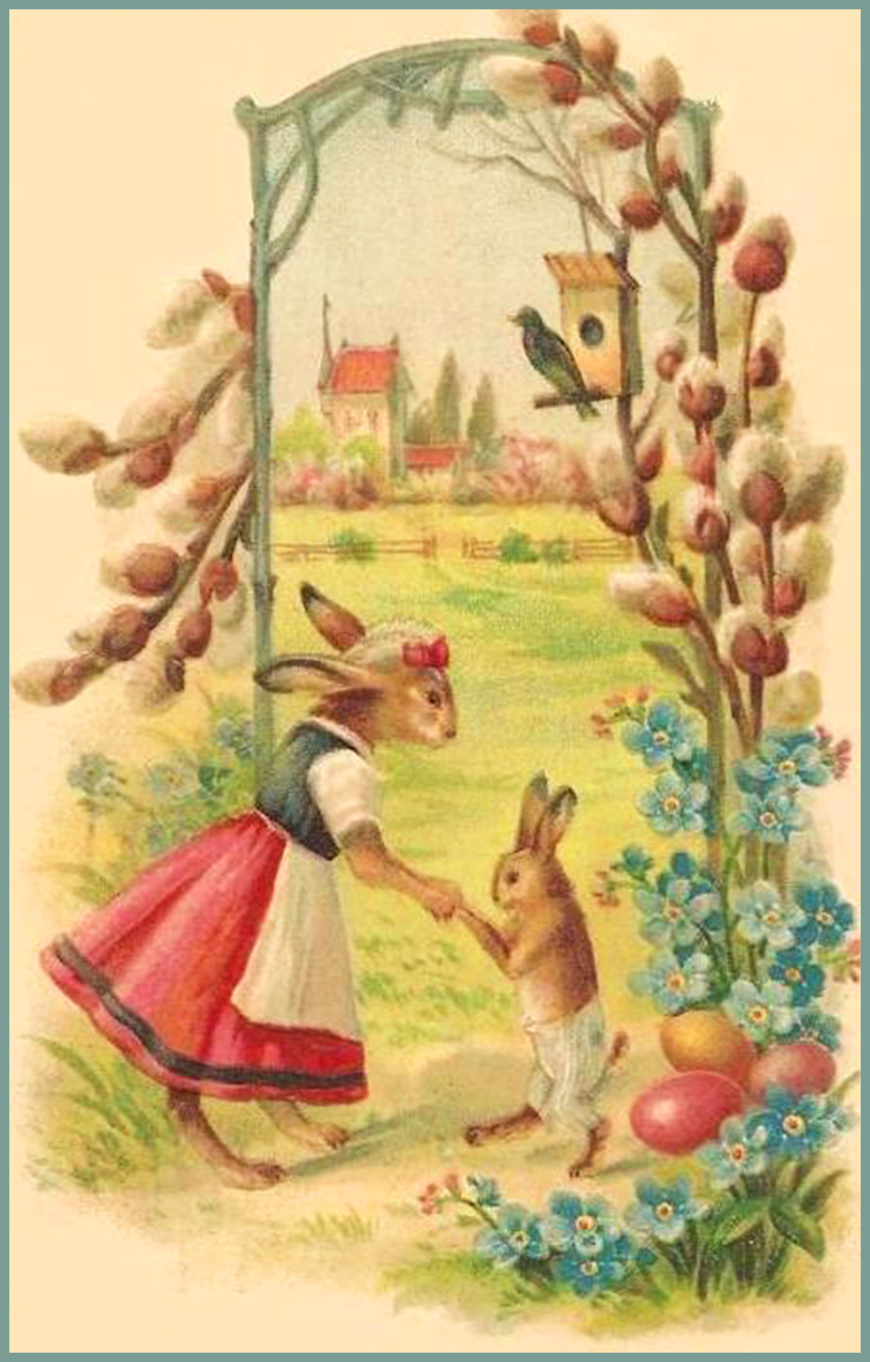 Free Easter card in cute vintage style with two bunnies.