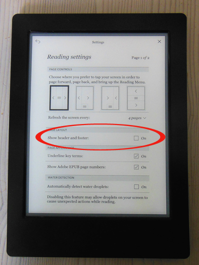 Untick checkbox for header and footer on Kobo eReader.