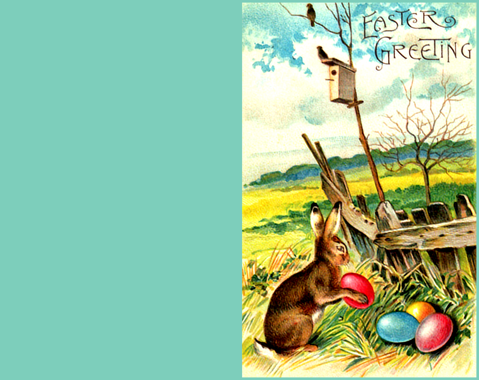 Easter greeting card with little rabbit and eggs.