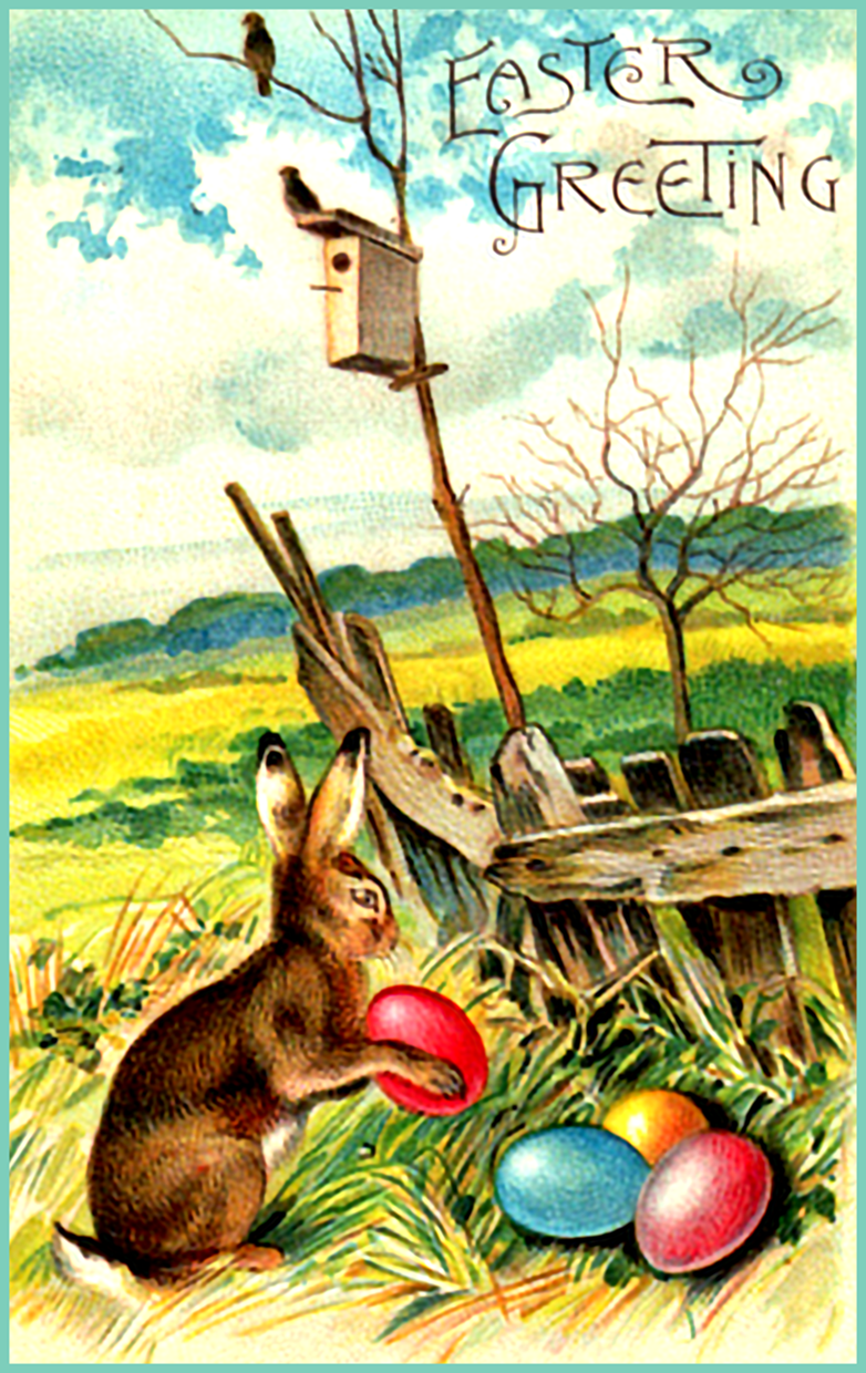 Vintage Easter card ready to print. Easter bunny with eggs.