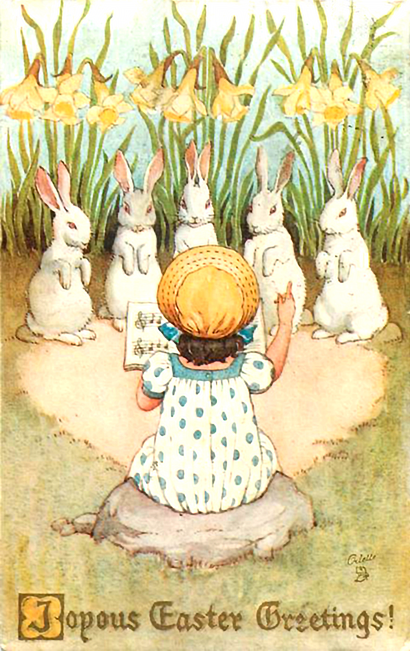 Wonderful Easter postcard to print in vintage styles. Little girl with white rabbits.