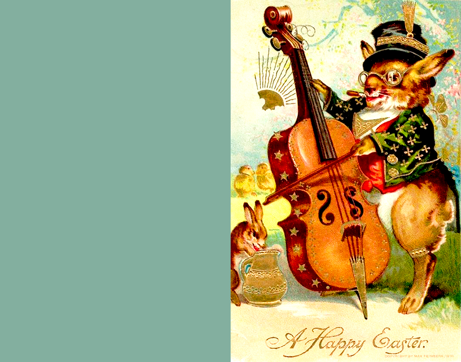 Cute old Easter greeting card with a bunny playing the violin.