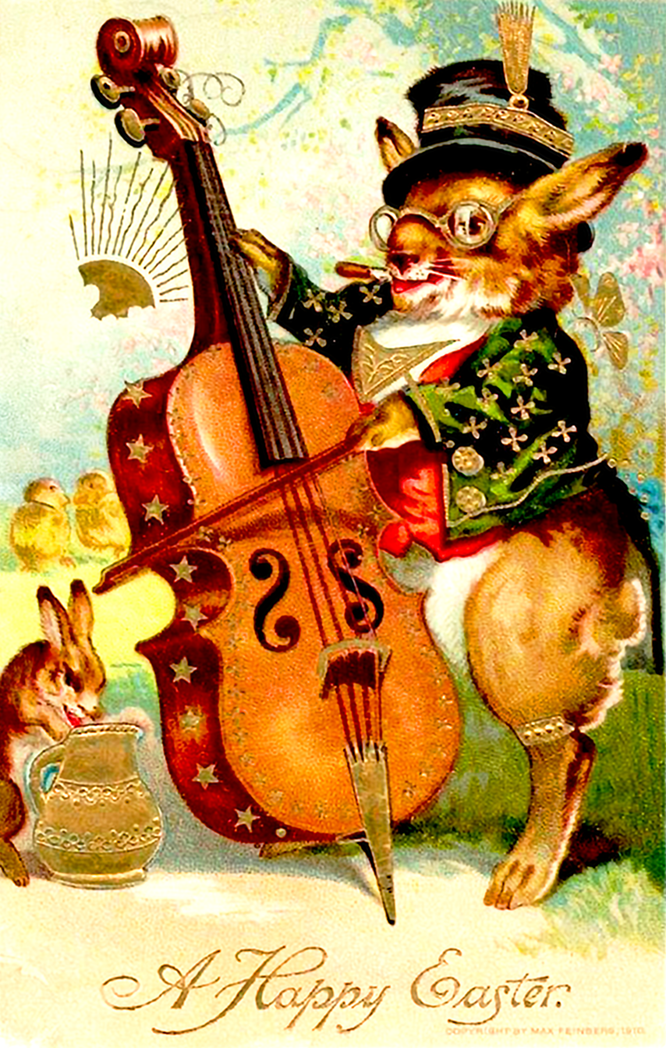 Adorable old Easter card in high print quality. A bunny playing the violin.