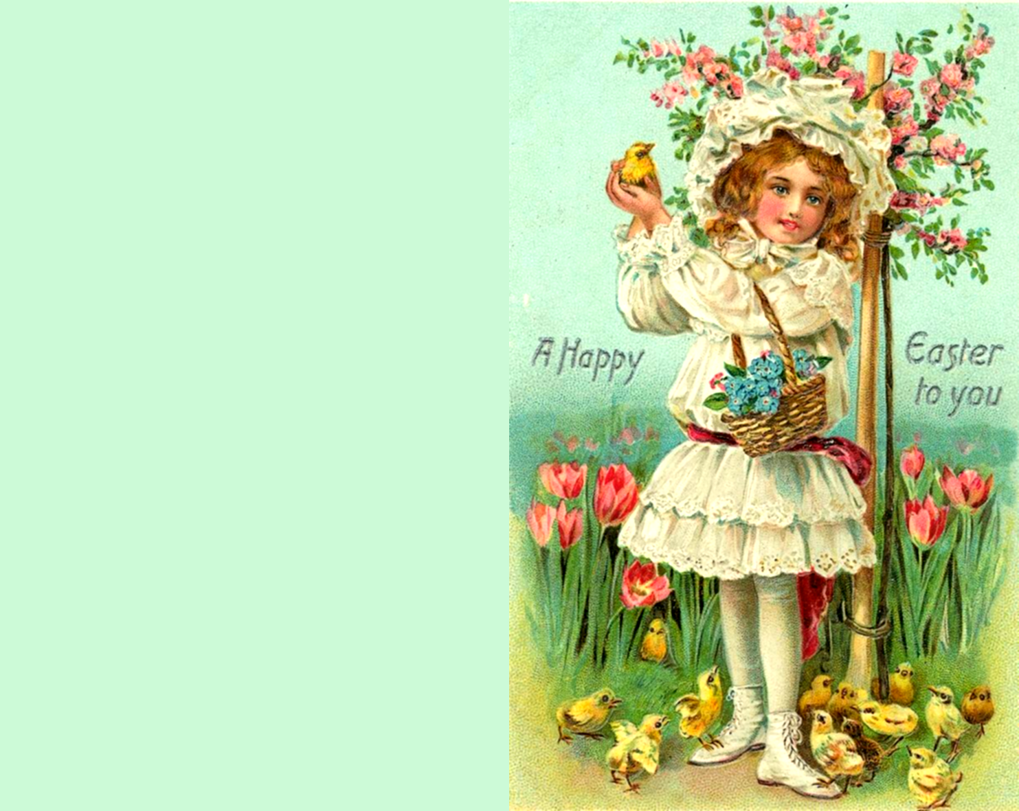 Old vintage Easter greeing card with little girl, flowers and chickens.