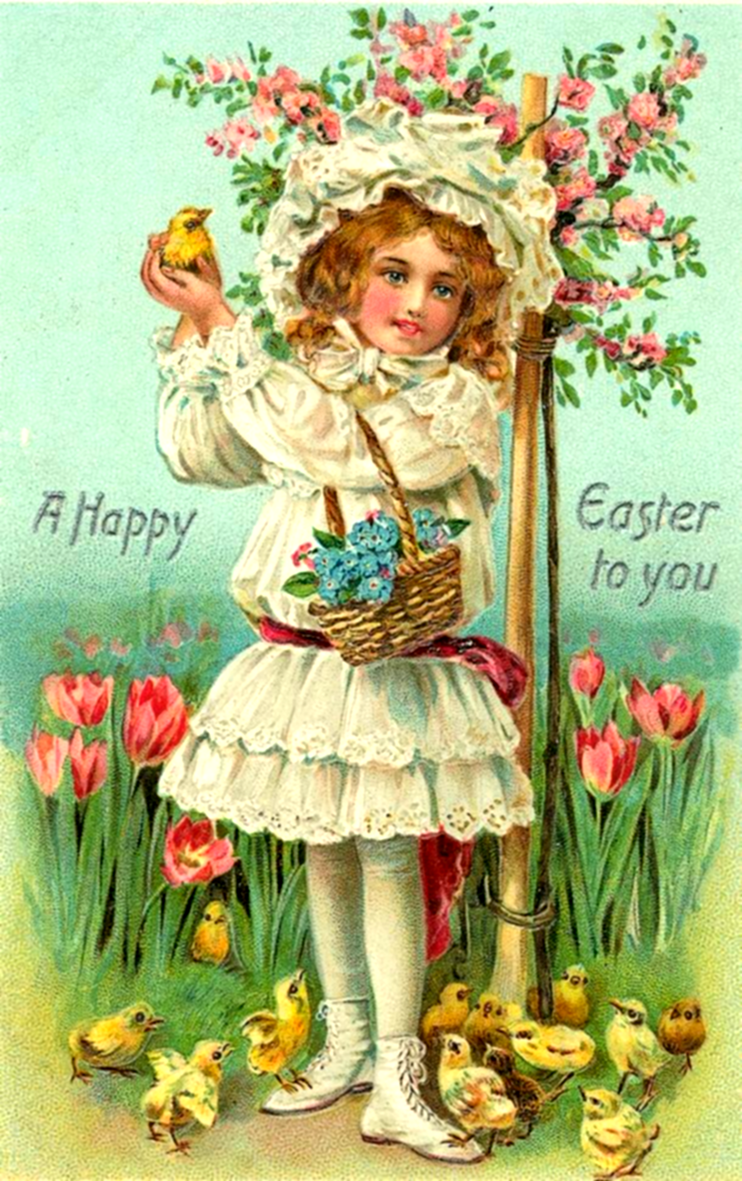 Beautiful Easter card with girl and flowers.