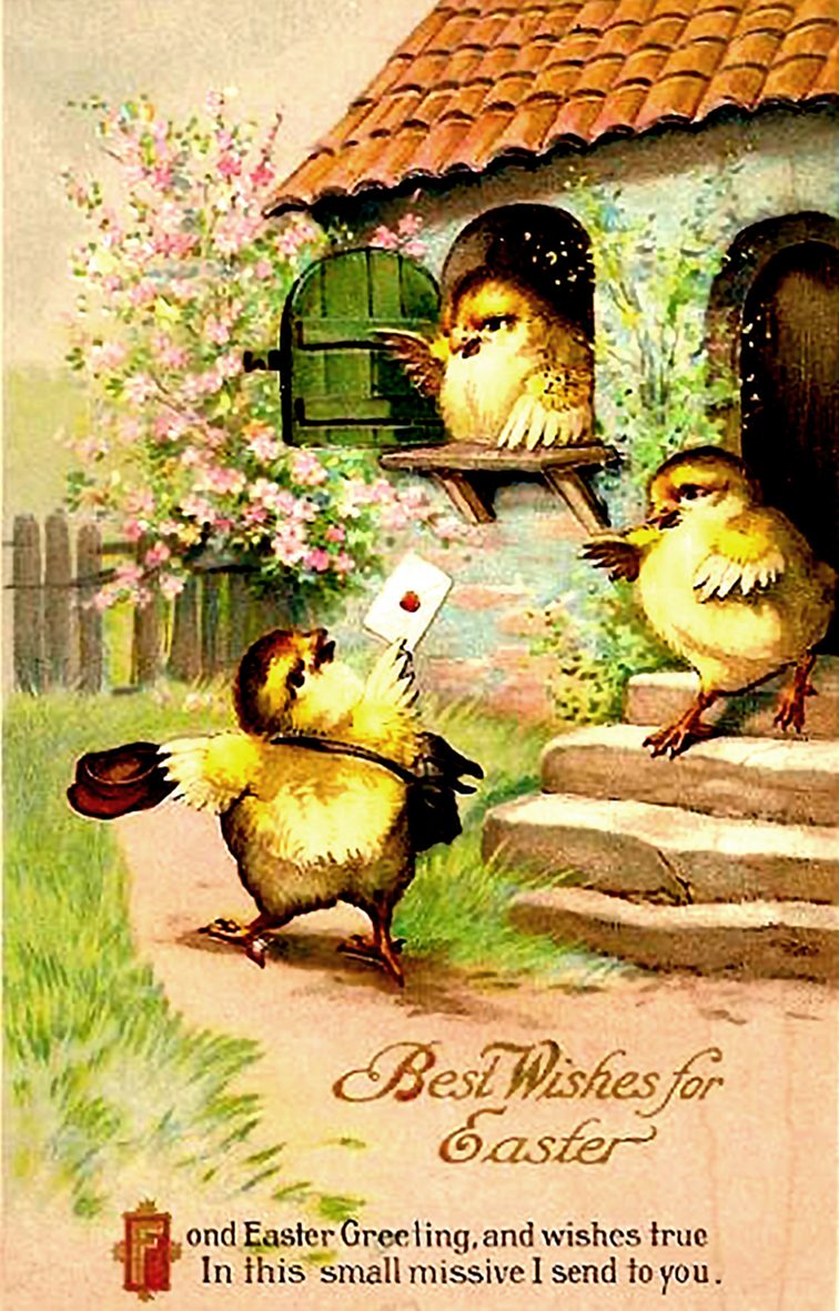 Printable Easter card in vintage style with cute chickens.