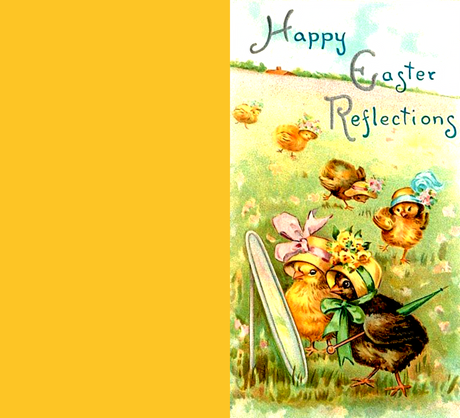 Wonderful vintage Easter greeting card with cute little chickens.
