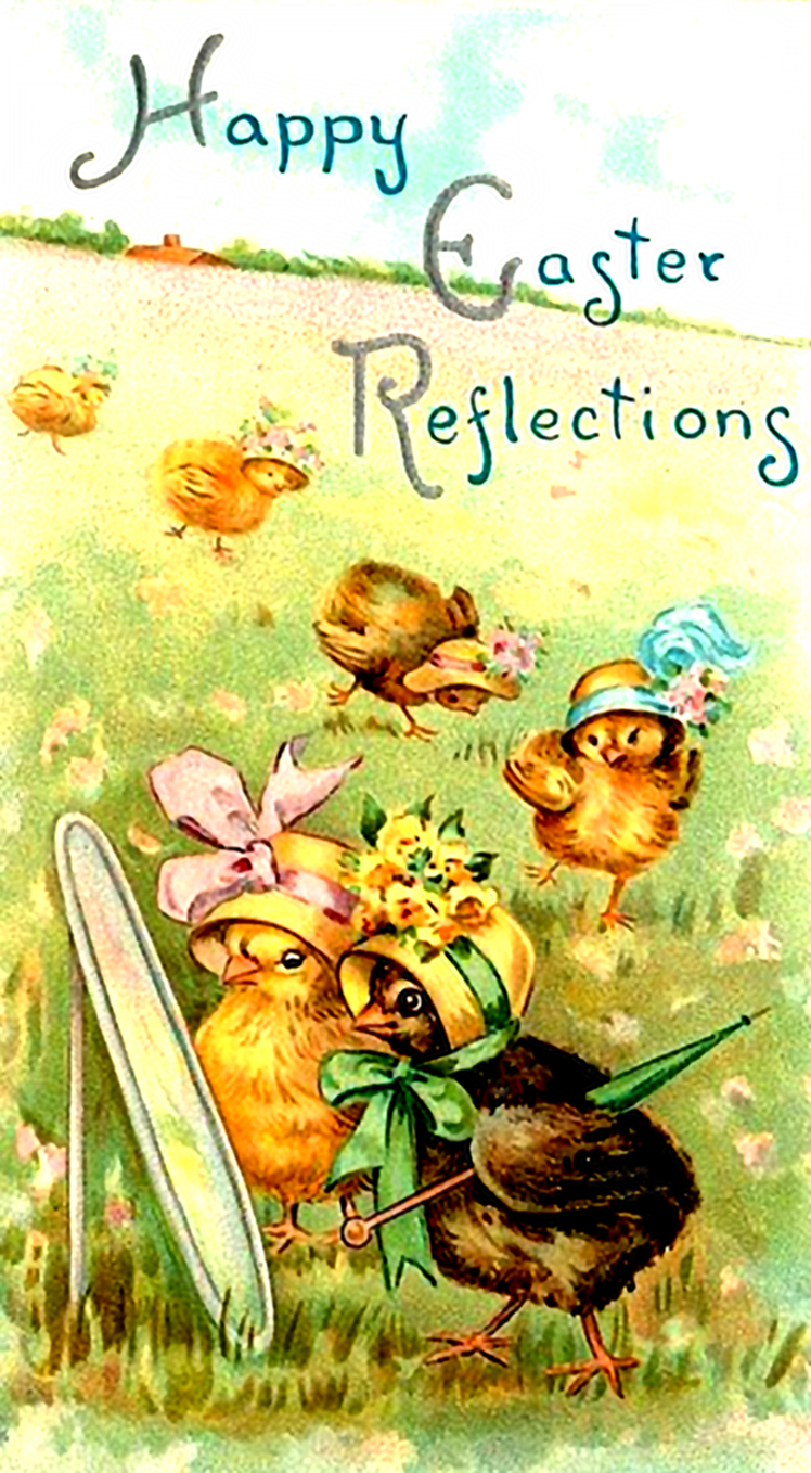 Cute printable Easter postcard with chickens looking in a mirror.
