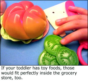 Fun toddler games: Picture of plastic toy food that can be used in the grocery game.