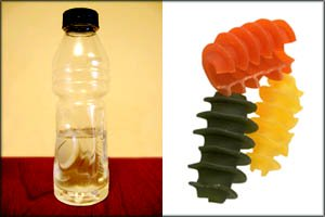 Fun activities for toddlers: water bottle and uncooked colorful pasta.