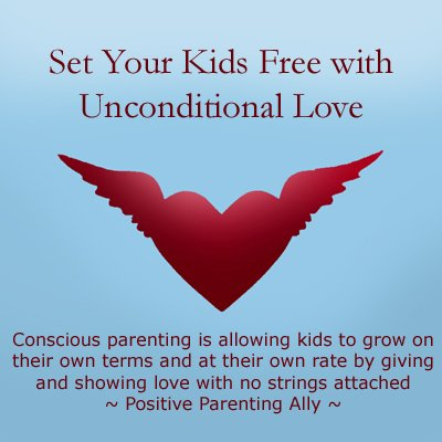 Conscious parenting (unconditional parenting) is love with no strings attached: Picture of heart with wings