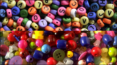Use a variety of beads, letters, animals etc. in your arts and crafts projects.