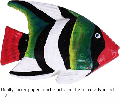 Colorful paper mache fish for the more advanced.