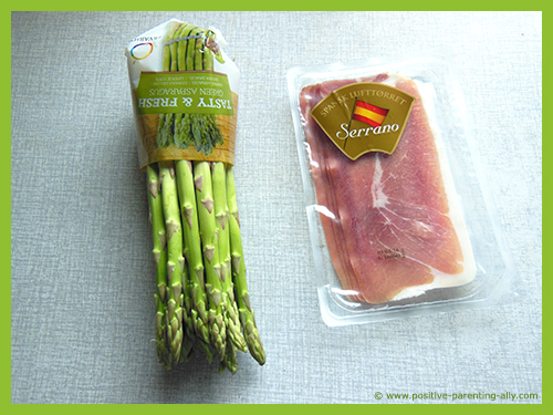 Ingredients for delicious lunch snack, asparagus and ham.