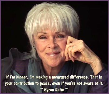 Byron Katie quote on kindness and peace in the world