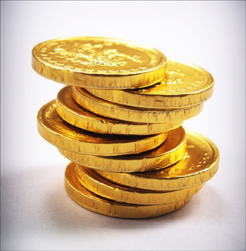 Chocolate gold coins for treasure hunt.