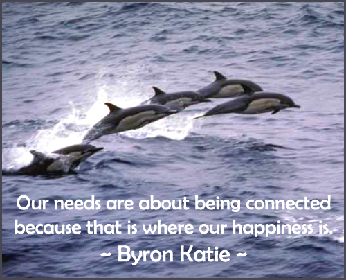 Quote from Byron Katie about being connected and happy.
