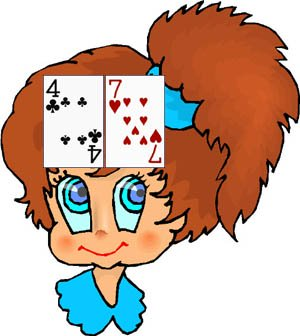Indian poker is a good example of cool math games for kids: girl with cards on her forehead