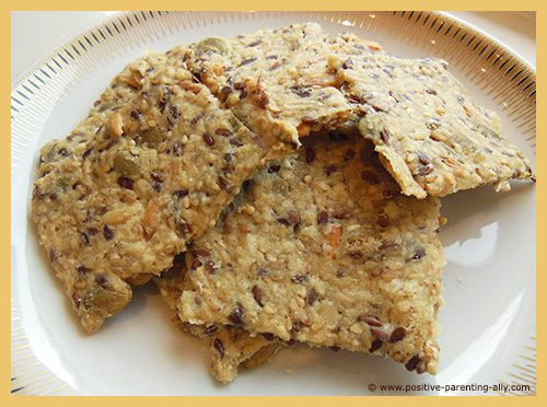 Homemade healthy crispbread recipe with lots of nutritious seeds.