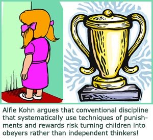 drawings of images of punishments and rewards. Girl standing in corner and trophy
